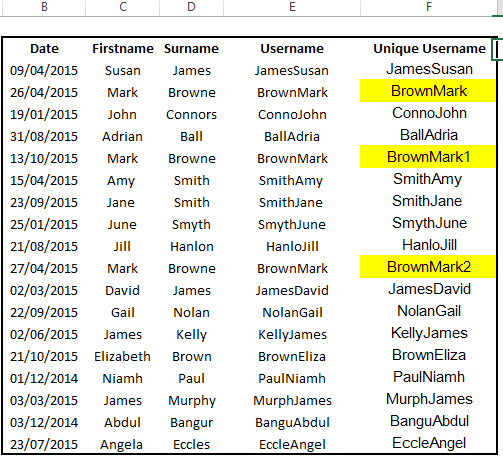 generate unique usernames in excel with countif
