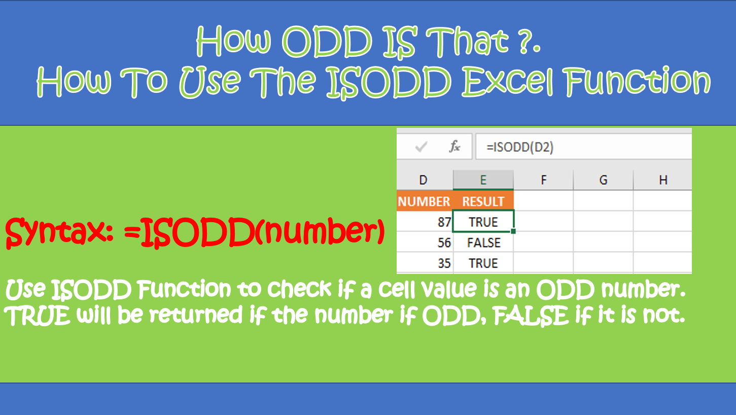 ISODD FUNCTION3 and odd excel number function