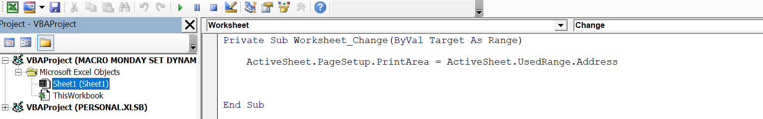 Set Up A Dynamic Print Area In Your Excel Worksheet Using A Small Vba Macro How To Excel At Excel