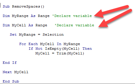 Commenting on VBA code