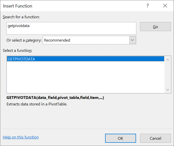 GETPIVOTDATA Function in Excel
