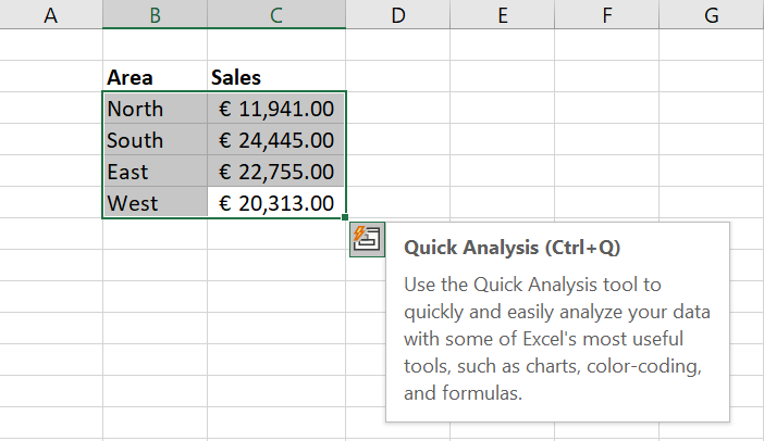 Quick Analysis feature in Excel shortcut