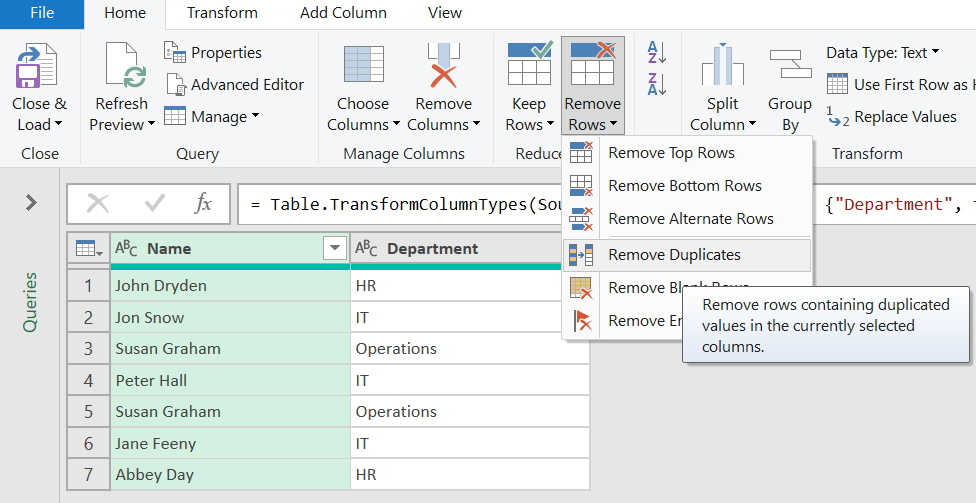 remove duplicate records with power power query