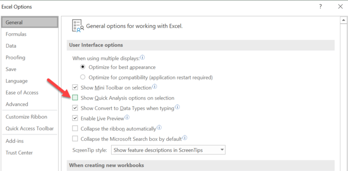 Turn off the Quick Analysis Feature in Excel.