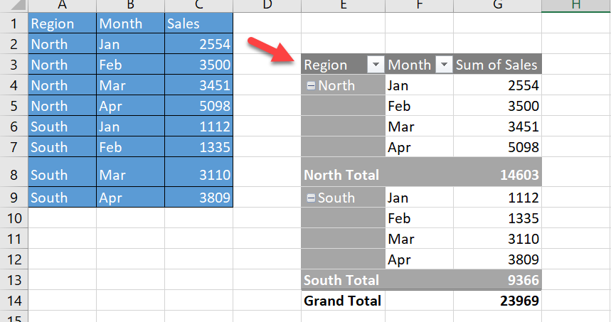 pivot table drill down Excel