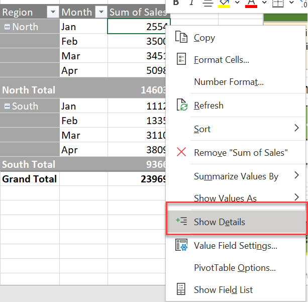Drill down into an Excel Pivot Table