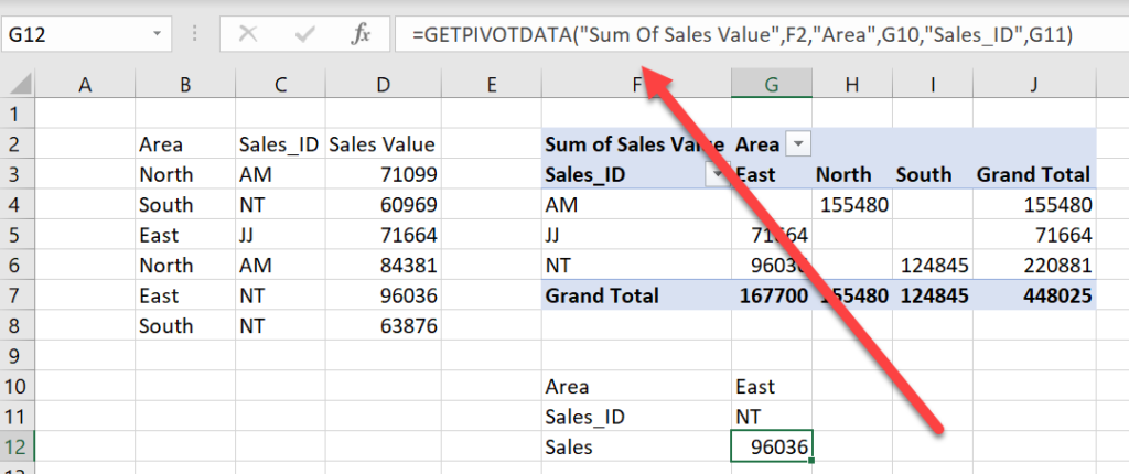 turn GEPIVOTDATA function on and off in Excel with Pivot table example