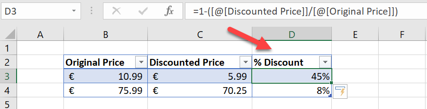 excel percentage discount