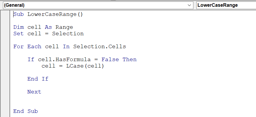 Convert to cells to lower case without formulas.