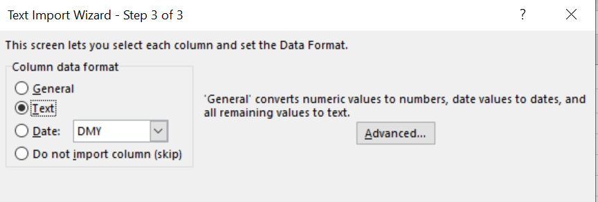 text import wizard to prevent excel changing last digit to zero
